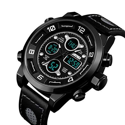 Men's Watch Digital Sports Watch Dress Stainless Steel Large Dial Analog Quartz Watch Waterproof Black(109g/3.84oz) -