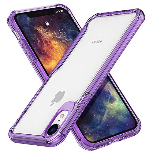 MILPROX iPhone XR Case Ultra Thin Slim Transparent Crystal Clear PC Back Cover with Rubber TPU Bumper, Shockproof Anti-Scratch case for iPhone XR (2018) (Clear Purple)