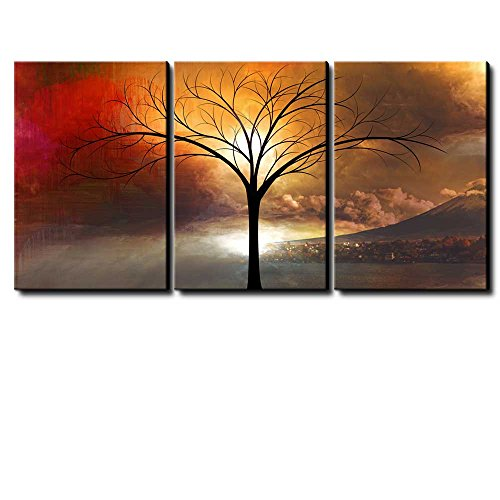Abstract Majestic Cloudy Sunset View of a Mountain Village with a Black Tree Framed and x 3 Panels