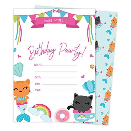 Cat Kitten Kitty Style 2 Happy Birthday Invitations
