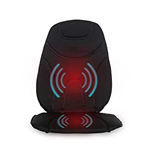 Vibration Massage Cushion with Heat | Multi-Speed for Home, Office or Car | Portable Travel Back and Seat Pad for Chair with Controller | Auto Adapter Included | Black