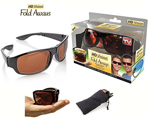 HD Vision Fold Aways High Definition Sunglasses Deluxe- Single - As On High Tv Sunglasses Seen Definition