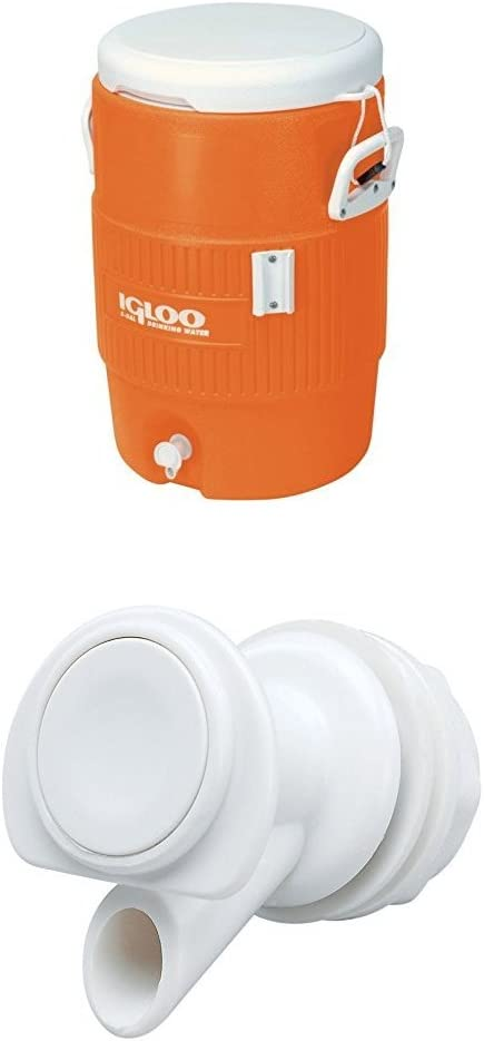 Igloo 5 Gallon Seat Top Beverage Jug with spigot plus replacement spigot