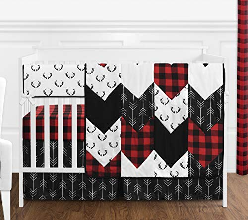 Sweet Jojo Designs Woodland Buffalo Plaid Baby Boy Nursery Crib Bedding Set – 5 Pieces – Red and Black Rustic Country Deer Lumberjack Arrow