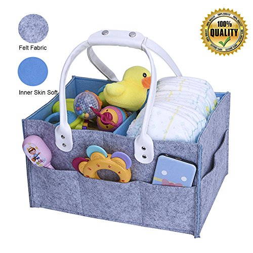 Baby Diaper Caddy Organizer - Baby Nursery Diaper Tot,Portable Car Organizer Bag - Felt storage bins for Diapers Wipes & Toys,Baby Shower Basket nappy gift for Mom,Newborn Registry Must Haves