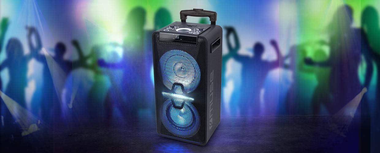 Muse Dj Pa Anlage Mit Akku 300 Watt Mit Cd Bluetooth Und Licht Effekten Usb Aux Mikrofon Fernbedienung Schwarz Audio Hifi