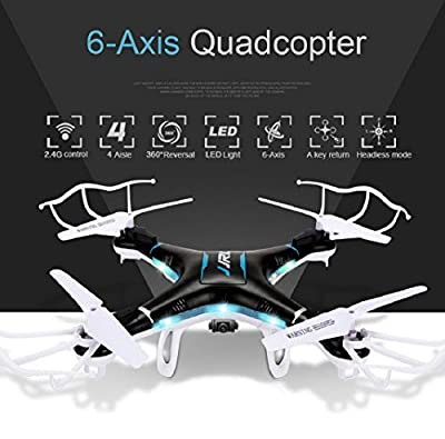 Qs QCopter 6 Axis Mini Quadcopter Drone With LED Lights and HD Camera 2X Battery, Black