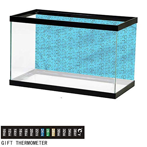 bybyhome Fish Tank Backdrop Blue and Black,Doodle Movie Icons,Aquarium Background,36