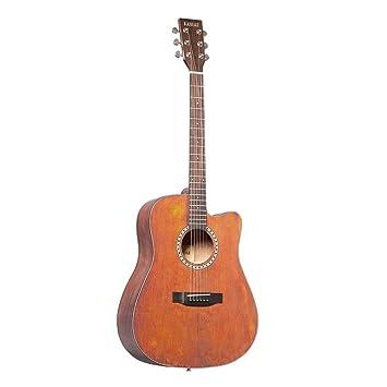 Miiliedy Chapa de 41 pulgadas Guitarra acústica retro Principiante Estudiante Chapa Guitarra acústica Minimalista Guitarra sintética hecha a mano cómoda con ...