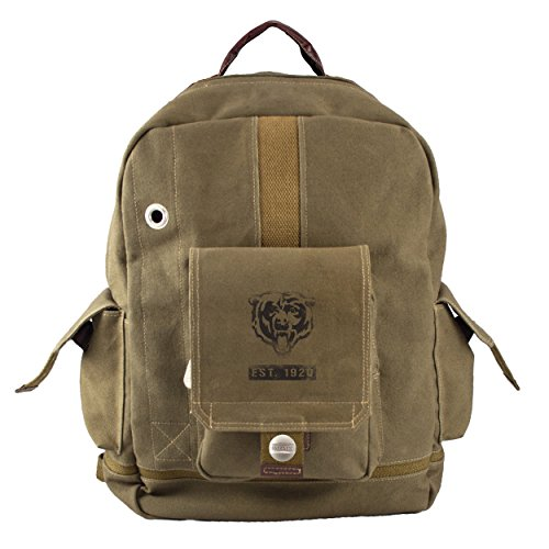 Beige Khaki NFL Chicago Bears Theme Backpack 17-Inch, Featuring Team Logo, Sports Knapsack, National Football League, Team Spirit, Multi-Compartments, Laptop Pocket, Adjustable Straps, Unisex by S & E