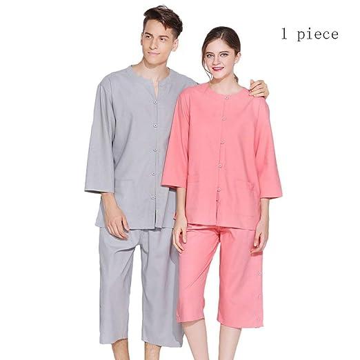 Pajamas Traje de Pijama, algodón con Bolsillos Albornoz, algodón y Lino Modelos Masculinos y Femeninos Ropa de moxibustión SPA Albornoz Ropa de Masaje, ...