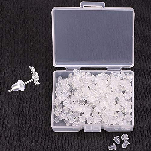 Earring Backs Stopper, 200PCS/100Pairs Clear Color Plastic Rubber Earring Back for Earring Studs Hoops, Plastic Rubber Bullet Clutch Earring Stopper, Earring Safety Back Stopper Replacement for Fish