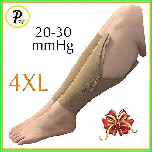 Presadee New Big Tall Calf Sleeve with Zipper 20-30 mmHg Compression Extra Wide Shin Energize Leg Swelling Circulation (Beige, 4XL)