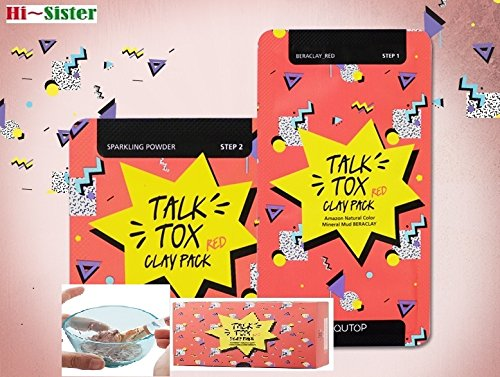 [AQUTOP] Pore Cleansing Sparkling Powder & Hydrating Special Clean TALK TOX Clay Pack Red, Beraclay-Red 7g *15ea + Sparkling Powder 2g*15ea, Amazon natural Color Mineral Mud BERACLAY (Clean Sparkling Natural)