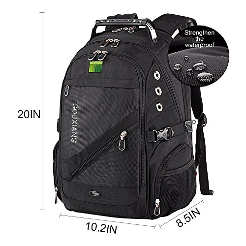 GOUXIANG Business Laptop Backpack- Water Resistant Computer Bag With Multipfunction Sports Gym Bag College Backpack Travel Backpack Daypack Fits Under 16-Inch Laptop and Notebook, Black (A)