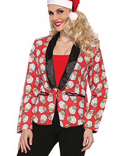 Costumes Santa Con (Women's Santa Claus Blazer Suit Jacket Costume Green Red Christmas,)