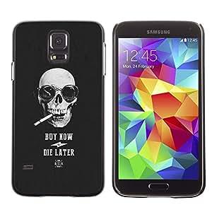 Be Good Phone Accessory // Dura Cáscara cubierta Protectora Caso Carcasa Funda de Protección para Samsung Galaxy S5 SM-G900 // Smoke Cigarette Cool Buy Skull Black