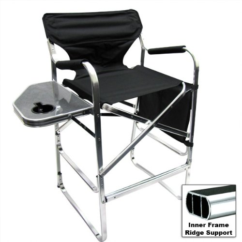 Deluxe Tall Folding Directors Chair Foldable Chair with Side Table and Cup Holder XL Comfort Design by EZ Travel Collection