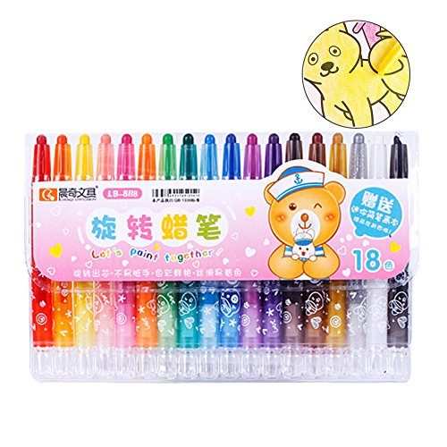 Crayons, Dsar 18 Colored Rotating Safe Non-Toxic Washable Slick Art Supplies for Kids and Adults (18 pack)