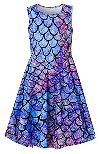 Girls Sleeveless Dress 3D Print Cute Mermaid Fish Scale Pattern Navy Blue Summer Dress Casual Swing Theme Birthday Party Sundress Toddler Kids Twirly Skirt, Mermaid, 6-7T]()