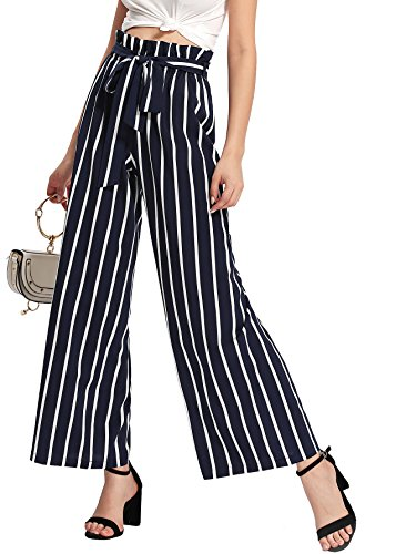 Floerns Women's Frilled Waist Striped Print Palazzo Pants