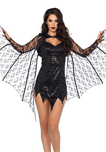 Leg Avenue Women's Lace Bat Wing Shrug, Black, One Size -