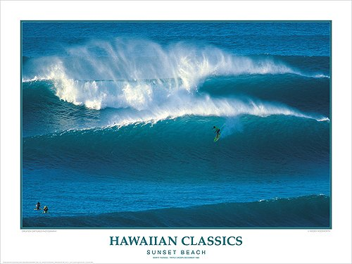 Hawaiian Classics ''Sunset Beach'' Hawaii Surfing Poster by Woody Woodworth/Creation Captured by Creation Captured