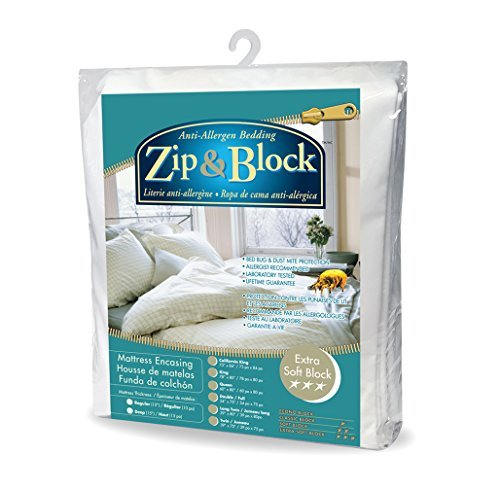 Zip and Block Extra Soft Block Anti Allergen Bed Bug Proof Breathable Mattress Encasing, White, Twin by Zip and Block