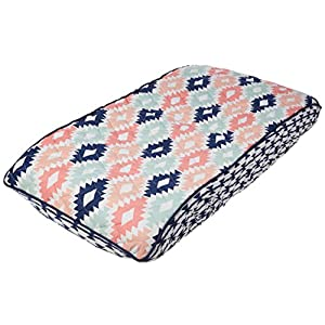 Bacati Emma Aztec Quilted Top Cotton Percale with Polyester Batting Diaper Changing Pad Cover, Coral/Mint/Navy