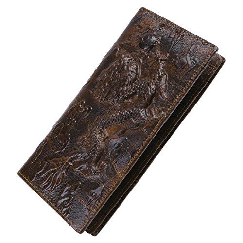 Itslife Men's Cowhide Leather Wallet Alligator Tiger Dragon Embossing (Dragon-Long)