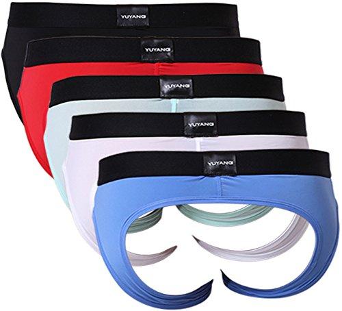 yuyangdpb Men's Gay Briefs Sexy Stretch Pouch Comfort Underwear for Men 5 Pack Medium