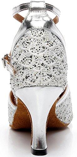 PU AQQ Dance 41 Party Mid Wedding 7069 Latin X Womens EU Lace Shoes Closed Heel Toe Tango Strap Silvery 16Iwvr1Tnq