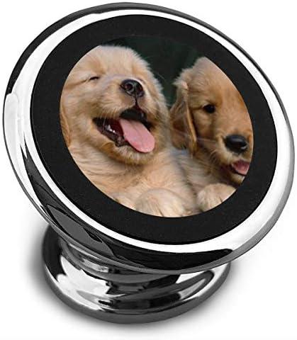 ゴールデンレトリバー犬子犬ペット絵画 携帯電話ホルダー おしゃれ 車載ホルダー 人気 磁気ホルダー 大きな吸引力 サポートフレーム 落下防止 360度回転