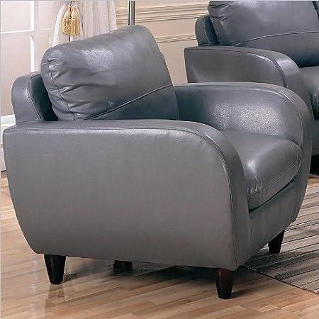 Amazon.com: Piven silla en gris tapicería de piel regenerada ...