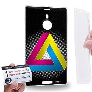 Case88 [Nokia Lumia 1520] Gel TPU Carcasa/Funda & Tarjeta de garantía - Art Fashion CMYK Penrose Triangle Art1340