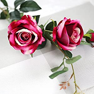 LySanSan - New Cheap Romantic Real Touch Rose Flowers Decoration Rose Silk Artificial Flowers Branches Roses for Wedding Bouquet Decoration 18