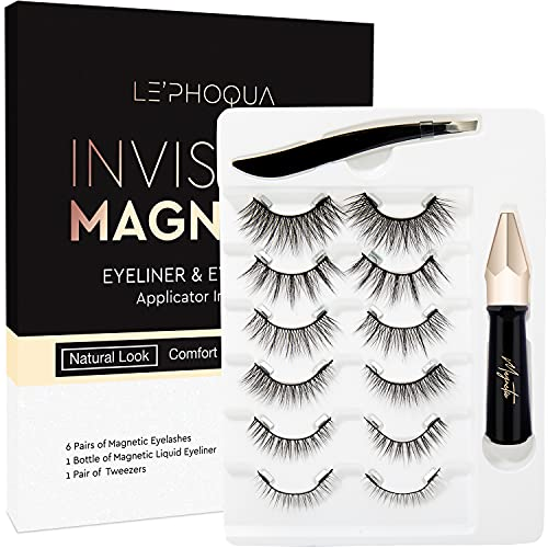 2021 Upgraded Magnetic Eyelashes With Eyeliner Kit, 6 Pairs Reusable Magnetic Lashes with 1 Tube of Waterproof Magnetic Eyeliner, Easy to Wear, Fit & Comfortable, No Glue Needed