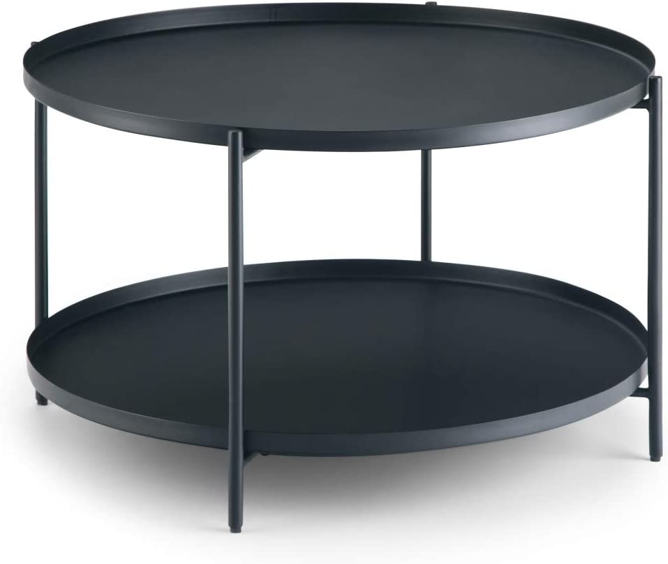 SIMPLIHOME Monet Round 32 inch Wide Metal Modern Industrial Coffee Table in Black, for the Living Room, Family Room