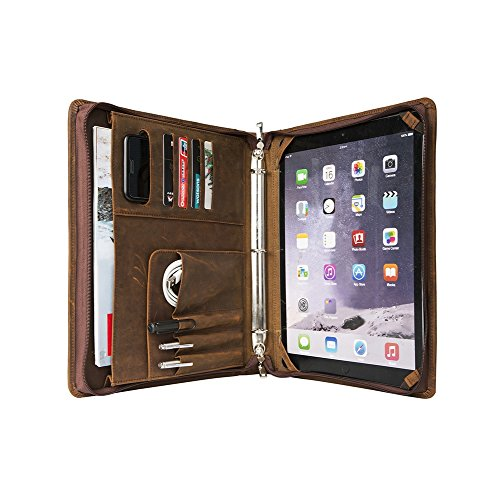 ZH Business Portfolio Genuine Leather Padfolio Case Spiral Bound Notebook - Letter Size - 3-Ring Binder - Zippered Closure - for iPad Pro 12.9 Inch - Crazy-horse Leather - Brown