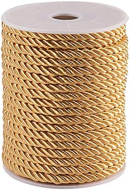 Honor Cord PH PandaHall 5mm// 18 Yards Twisted Cord Rope Nylon Twisted Cord Trim Thread String for Home D/écor Curtain Tieback Tan Color