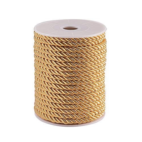 PH PandaHall 5mm/ 18 Yards Twisted Cord Rope Nylon Twisted Cord Trim Thread String, Gold