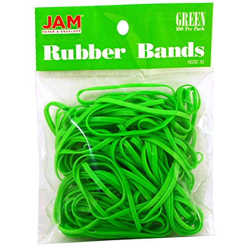 JAM PAPER Colorful Rubber Bands - Size 33 - Green Rubberbands - 100/Pack -