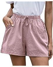 Bravetoshop Women Shorts Cotton Linen Drawstring Elastic Waist Loose Beach Shorts with Pockets