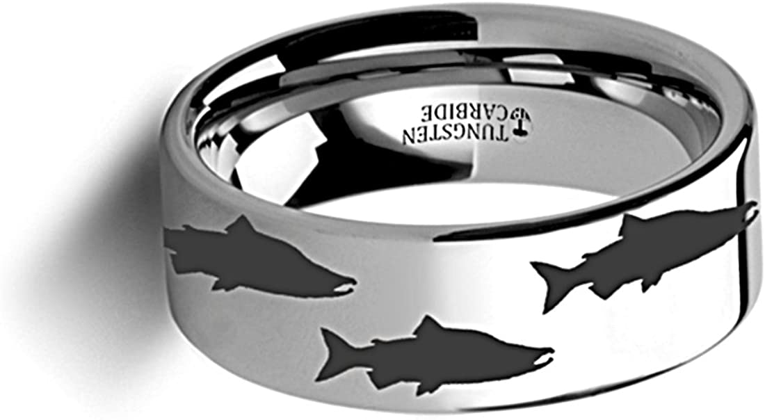 Thorsten Wildlife Salmon Fish Sea Print Pattern Ring Flat Tungsten Ring 4mm Wide Wedding Band from Roy Rose Jewelry