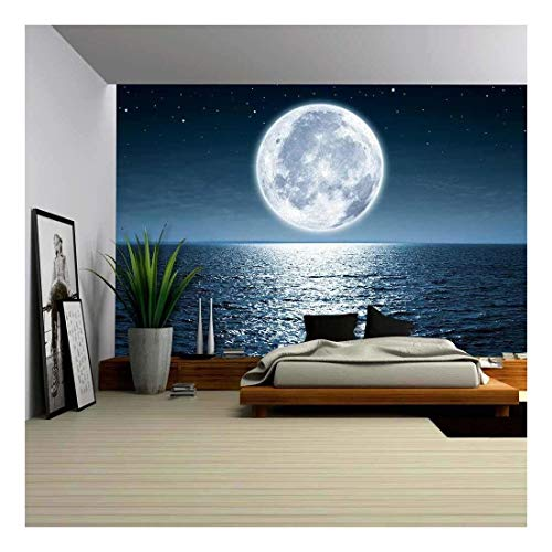 (wall26 - Full Moon Rising Over The Ocean Empty at Night with Copy Space - Removable Wall Mural | Self-Adhesive Large Wallpaper - 100x144 inches)