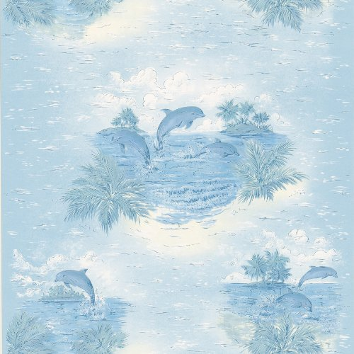 brewster-436-12807-honolulu-blue-dolphin-wallpaper-blue