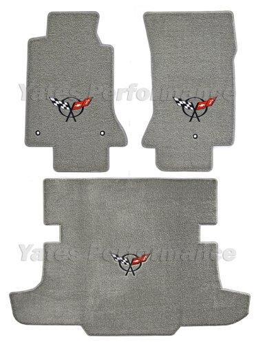 (1997-2004 Corvette Hardtop Gray Floor & Trunk Mats - Black Crossed Flags Logo)