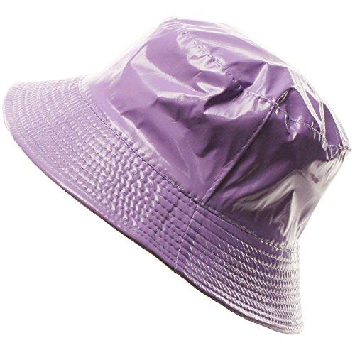 Ladies Girls Rain Resistant Bell Bucket Foldable Travel Cap Hat Cap Purple 56cm