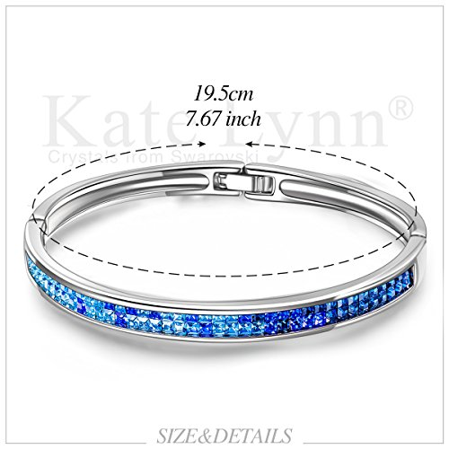 Kate Lynn Bangle Bracelet for Mom Blue Swarovski Crystals Jewelry Gifts for Her Bracelet for Women Birthday Gifts for Wife Teen Girls Gifts Present for Women by Kate Lynn (Image #2)