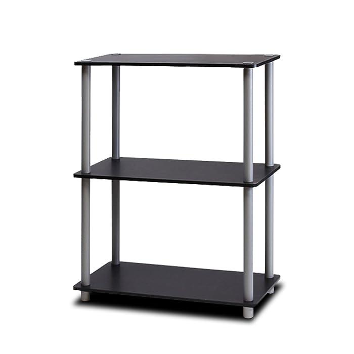 Furinno 10024BK/GY Turn-N-Tube 3-Tier Compact Multipurpose Shelf Display Rack, Black/Grey